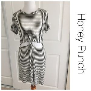Honey Punch Tied Knot Striped Dress S